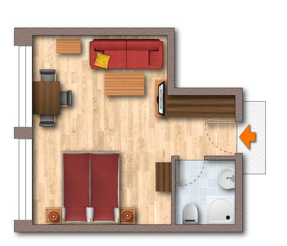 Doppelzimmer Zillertaler Alpen - 2 bis 4 Personen im Waldcafe in Mayrhofen